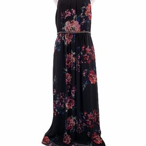 SLNY Dresses - SLNY Floral Printed Embellished Waist Maxi Dress